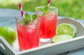 Ice cold lemonade two glasses of Stock Photo