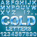 Ice cold letters an alphabet set of and numbers with snow and Royalty Free Stock Photos