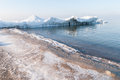 Ice-covered breakwater. Baltic sea Royalty Free Stock Photo