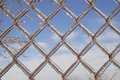 Ice covered chain link fence Stock Photos