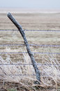 Ice covered fence post and wire Royalty Free Stock Photo