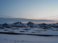 Ice covered mountains in north western island west iceland along route Royalty Free Stock Images