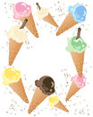 Ice cream advert an illustration of colorful cones with sprinkles isolated on a white background Royalty Free Stock Image