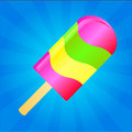 Ice cream background multicolor lolly on the blue phone with rays Stock Photography