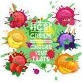 Ice Cream Balls Set Fruit Desserts Collection Choose Your Taste Cafe Poster