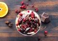 Ice cream, banana, strawberry, raspberry, cherry with chocolate sauce Royalty Free Stock Photo