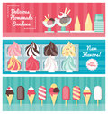 Ice cream banner set Royalty Free Stock Photo