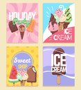 Ice cream banners. Summer desserts caramel sundae waffles, kids sweet cafe menu, holiday party flyers. Vector sale