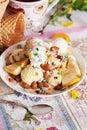 Ice cream bowl with sprinkles banana, almonds, love, heart, happiness, many, waffle Royalty Free Stock Photo