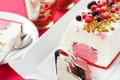 Ice cream cake with berries and nuts Royalty Free Stock Photo