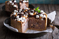 Ice cream cake with marshmallows and peanuts Royalty Free Stock Photo