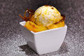 Ice cream on caramelized sugar Stock Photo