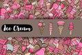 Ice cream cartoon doodle background design.