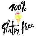 Ice cream cartoon with gluten free lettering