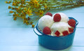 Ice cream in ceramic bowl with flowers Royalty Free Stock Photo