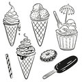 Ice cream and chocolate vector set Stock Images