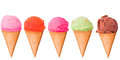 Ice cream color creams with cone on white background Stock Image