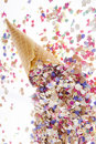 Ice cream cone with confetti Royalty Free Stock Image
