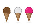Ice cream cone flavors chocolate vanilla and strawberry Royalty Free Stock Images