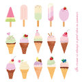 Ice cream cone and popsicle set on white. Royalty Free Stock Photo