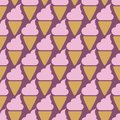 Ice cream cone seamless pink pattern background Royalty Free Stock Photo