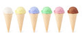 Ice cream with cone set of on white background Royalty Free Stock Image