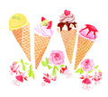 Ice-cream cones and flowers watercolor vector design object Royalty Free Stock Photo