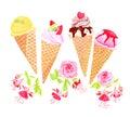 Ice-cream Cones And Flowers Wa...