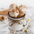 Ice cream cones in an old vintage mug selective focus Stock Photo