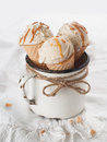 Ice cream cones in an old vintage mug selective focus Stock Images