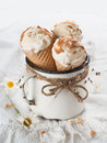 Ice cream cones in an old vintage mug selective focus Royalty Free Stock Image
