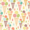 Ice cream cones seamless pattern background vector with delicious treats Stock Images