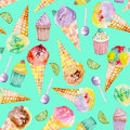 Ice cream and confection pattern on a turquoise background seamless with bright tasty appetizing painted in watercolor Stock Images