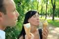 Ice cream couple Royalty Free Stock Photo