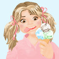 Ice cream cute girl eating Stock Images