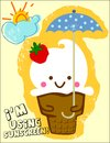 Ice cream cute holding an umbrella Stock Images