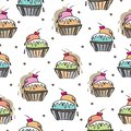 Ice Cream Delight-Sweet Dreams seamless repeat pattern illustration.Background in pink, blue,orange,green, red, cream