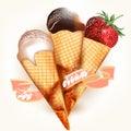 Ice cream desert with strawberry on white Stock Photo