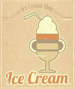 Ice cream dessert vintage menu card retro style illustration Stock Photo