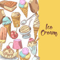 Ice Cream and Desserts Hand Drawn Menu with Fruits and Chocolate. Cones and Waffles