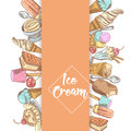 Ice Cream and Desserts Hand Drawn Menu Template with Fruits and Chocolate. Cones and Waffles