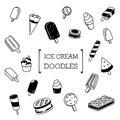 Ice cream doodles set