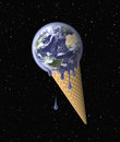 Ice cream earth on waffle cone in the shape of the symbolizing global warming environmental conservation concept globe mapping Royalty Free Stock Image