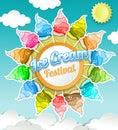 Ice cream festival concept vector illustration in paper art style