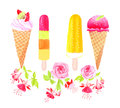Ice-cream and flowers watercolor vector design object Royalty Free Stock Photo