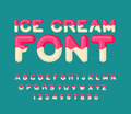 Ice cream font. Popsicle alphabet. Cold sweets ABC. Food typogra Royalty Free Stock Photo