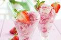 Ice cream with fresh strawberries Royalty Free Stock Photo
