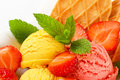 Ice cream with fresh strawberries Royalty Free Stock Photo