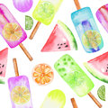 Ice cream, frozen juice, citrus and watermelon pattern, hand drawn in a watercolor on a white background Royalty Free Stock Photo