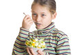 Ice cream and fruits child with appetite eats dessert with Royalty Free Stock Photos
